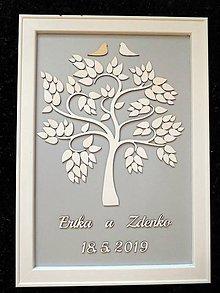 Dekorácie - svadobná kniha hostí/drevený strom 26 - 10694844_