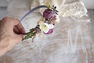 Ozdoby do vlasov - Kvetinová čelenka ,,fialová.,, - 10693931_