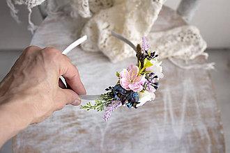 Ozdoby do vlasov - kvetinová čelenka ,,ružová,, - 10693966_