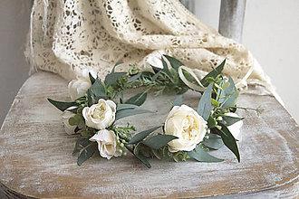 Ozdoby do vlasov - Kvetinový venček ,,eukalyptus,, - 10693993_
