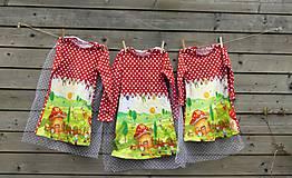 Detské oblečenie - Šaty s vlečkou - červené, dlhý rukáv - 10693226_