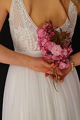 Šaty - Svadobné šaty na ramienka z elastického tylu - 10694970_