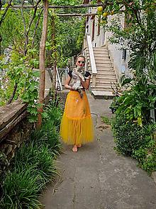 Sukne - Festivalová Dyona tylová vyšívaná sukňa - 10694359_