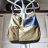 Veľké tašky - Leather&denim *hobo* bag - 10695099_