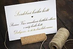 Papiernictvo - Svadobná kniha hostí - informačná kartička (Kartička A5 (obyčajná potlač)) - 10694213_