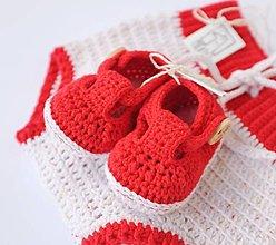 Topánočky - papučky/sandálky (červeno-biele) - 10695681_