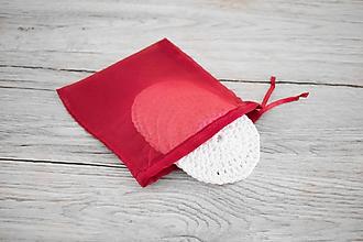 Úžitkový textil - SET: bordové vrecúško na odličovacie tampóny - 10696158_
