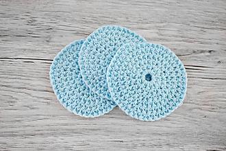 Úžitkový textil - Háčkované odličovacie tampóny (Set 5 modrých + darček (prenosné vrecúško)) - 10696184_