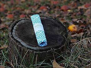 Úžitkový textil - Voskovaný obrúsok Voskáč 23x23cm & Vreckáč 20x20cm (geometric) - 10695683_