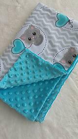 Textil - Detská deka s minky - kocúrik s balónikom - 10694589_