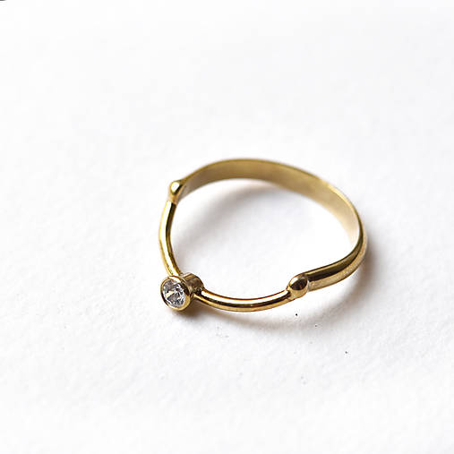 Prstene - Elegantný pozlacený prsten Gold Lars - 10694912_