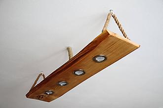 Svietidlá a sviečky - Drevená lampa s bodovými svetlami a LED pásmi - 10693266_