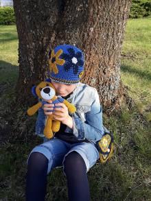 Detské čiapky - Čiapočka modrá kvietok - 10696093_