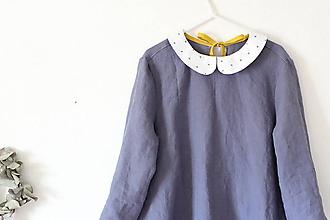 Šaty - Malé Ľanové s golierom (3/4 rukáv) - 10695990_