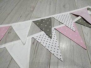 Detské doplnky - Vlajočková girlanda sivo-bielo-ružová - 10695674_