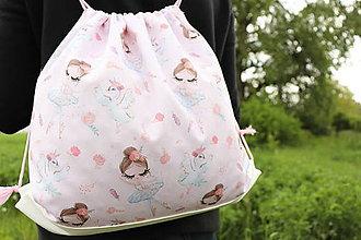 Batohy - Dievčenský batôžtek s baletkami a labuťkami - 10693493_