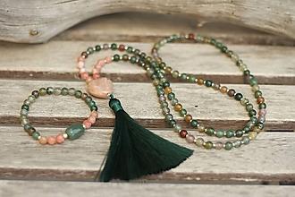 Sady šperkov - SET Japa Mala náhrdelník a náramok (achát, slnečný kameň) - 10693643_