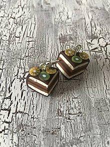 Náušnice - čokoládové tortičky s ovocím (III. Zľava) - 10694687_