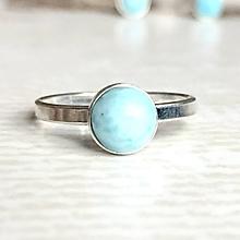 Prstene - Simple Larimar AG925 Ring / Strieborný prsteň s pravým larimarom /2097 - 10697780_