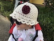 Detské čiapky - Letný klobúčik s kvetinkou - 10697437_