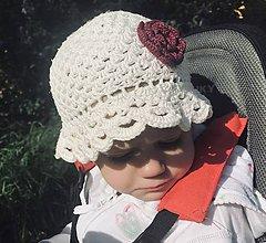Detské čiapky - Letný klobúčik s kvetinkou - 10697435_