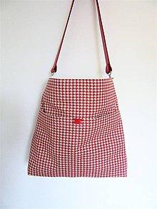Veľké tašky - Kabela kapsa s červeným pepitovým vzorom - 10696807_