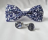 Šperky - Manžetové gombíky- modré kvietky - 10698088_