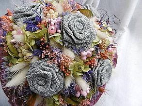 Dekorácie - Kytica zo sivých ruží - 10697701_