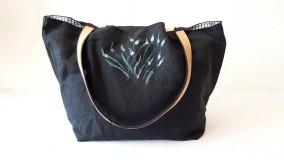 Veľké tašky - Veľká ľanová - pávienky - 10697991_