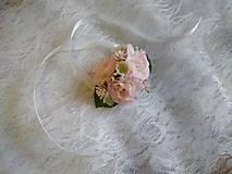 Kytice pre nevestu - náramok pre družičky svetloružové ružičky - 10696355_