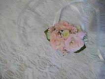 Kytice pre nevestu - náramok pre družičky svetloružové ružičky - 10696356_