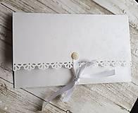 """Papiernictvo - svadobná obálka na peniaze """"biele ruže"""" - 10696495_"""