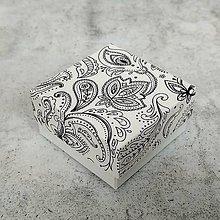 Obalový materiál - Krabička darčeková ornament biela - 10697935_