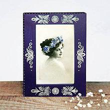 Rámiky - Maľovaný rámček - Blue Folk  (10x15 cm - Modrá, vzor B) - 10696536_
