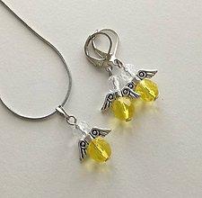 Sady šperkov - Minianjeliky z brúseniek sada (žltá) - 10697125_