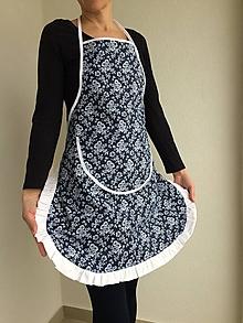 Iné oblečenie - kuchynská zástera modrotlač biele kvety - 10697950_