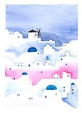 - Originál akvarel Santorini - 10696599_