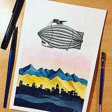 Obrazy - Originál Vzducholoď - akvarel plus kresba umeleckými perami - 10696583_