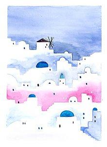 Obrazy - Originál akvarel Santorini - 10696599_