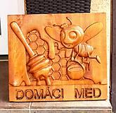 Grafika - Drevorezba reklama na bránu Domáci včelí med - 10696646_