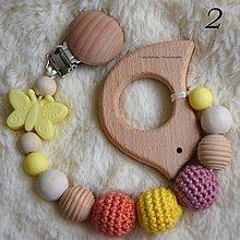 Hračky - Drevené hryzátko Motýlik - žltá (2 / prírodné úle) - 10697245_