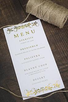 """Papiernictvo - Svadobné menu """"Zlatá"""" - 10696484_"""