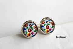 Náušnice - Folk Flowers in White - 10698653_