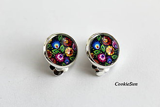 Náušnice - Folk Flowers in Black (Klipsne 12mm) - 10698515_