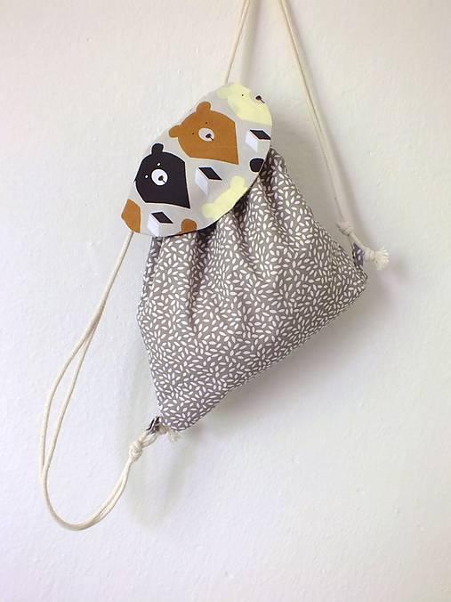 Detský ruksak mini - sivohnedý Medveď