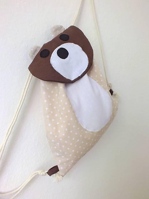 Detský ruksak béžový - Medveď/Maco