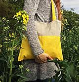 Nákupné tašky - Bavlnená taška s ľanom - Slniečko - 10696779_