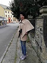 Iné oblečenie - Béžová vlnená pelerína - 10697972_
