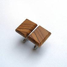 Šperky - Drevené manžetové gombíky - olivovníkové obdĺžniky - 10696406_