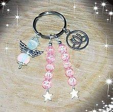 Iné šperky - Prívesok alebo klucenka na kluče alebo tašku  anjeliky z macacieho oka a opalitu - 10699415_